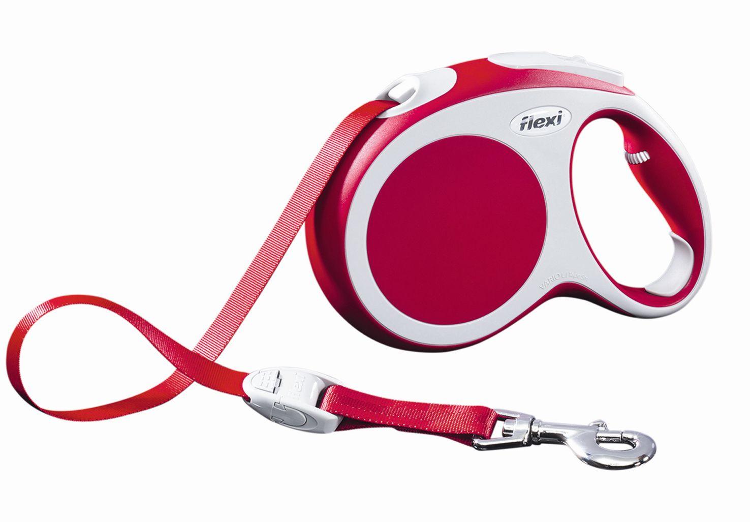 Поводок-рулетка Flexi Vario Compact L для собак до 60 кг, цвет: красный, 5 м020111Поводок-рулетка Flexi Vario Compact L изготовлен из пластика и нейлона. Подходит для собак весом до 60 кг. Ленточный поводок обеспечивает каждой собаке свободу движения, что идет на пользу здоровью и радует вашего четвероногого друга. Рулетка очень проста в использовании. Она оснащена кнопками кратковременной и постоянной фиксации. Ее можно оснастить мультибоксом для лакомств или пакетиков для сбора фекалий, LED подсветкой корпуса, своркой или ремнем с LED подсветкой. Поводок имеет прочный корпус, хромированную застежку и светоотражающие элементы. Длина поводка: 5 м. Максимальная нагрузка: 60 кг. Товар сертифицирован.