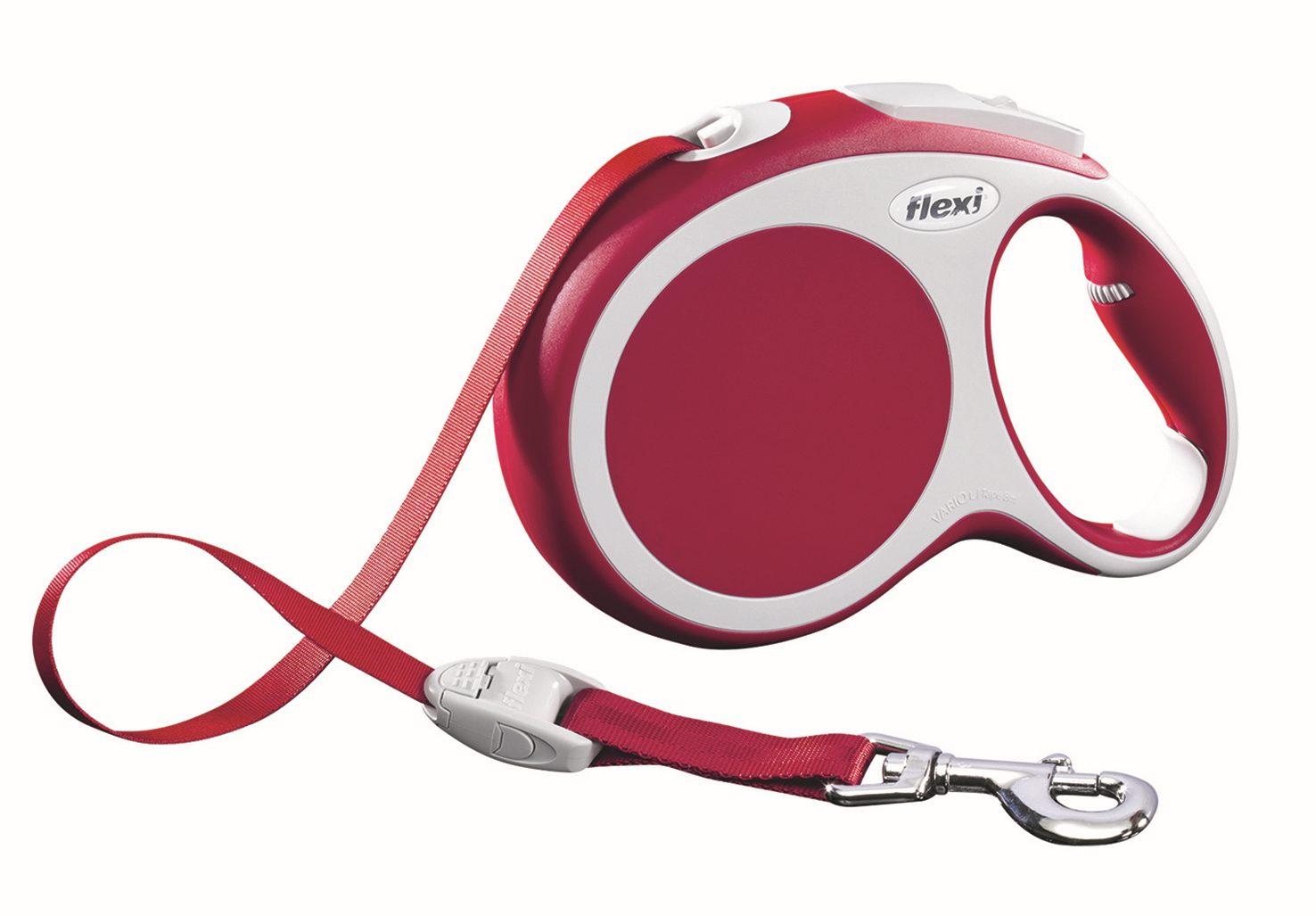 Поводок-рулетка Flexi Vario Compact L для собак до 50 кг, цвет: красный, 8 м020210Поводок-рулетка Flexi Vario Compact L изготовлен из пластика и нейлона. Подходит для собак весом до 50 кг. Ленточный поводок обеспечивает каждой собаке свободу движения, что идет на пользу здоровью и радует вашего четвероногого друга. Рулетка очень проста в использовании. Она оснащена кнопками кратковременной и постоянной фиксации. Ее можно оснастить мультибоксом для лакомств или пакетиков для сбора фекалий, LED подсветкой корпуса, своркой или ремнем с LED подсветкой. Поводок имеет прочный корпус, хромированную застежку и светоотражающие элементы. Длина поводка: 8 м. Максимальная нагрузка: 50 кг. Товар сертифицирован.