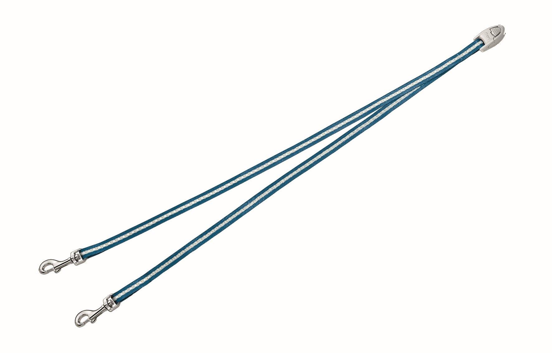 Сворка Flexi Vario Duo Belt S для собак до 5 кг, цвет: синий, 42 см020722Сворка Flexi Vario Duo Belt S изготовлена из металла и нейлона. Данный аксессуар позволяет адаптировать рулетку для выгула 2 собак. Сворка обеспечивает каждой собаке свободу движения, что идет на пользу здоровью и радует вашего четвероногого друга. Сворка Flexi - специальное дополнение к поводку Flexi Vario размером S. При выборе рулетки для двух собак нужно учитывать суммарный вес обеих собак. Поводок имеет хромированную застежку. Длина поводка (без учета карабина): 42 см. Ширина поводка: 9 мм. Максимальная нагрузка: 5 кг. Товар сертифицирован.