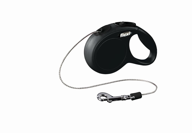Поводок-рулетка Flexi Classic Basic Mini XS для собак до 8 кг, цвет: черный, 3 м022429Поводок-рулетка Flexi Classic Basic Mini XS изготовлен из пластика и нейлона. Подходит для собак весом до 8 кг. Тросовый поводок обеспечивает каждой собаке свободу движения, что идет на пользу здоровью и радует вашего четвероногого друга. Рулетка очень проста в использовании. Она оснащена кнопками кратковременной и постоянной фиксации. Ее можно оснастить мультибоксом для лакомств или пакетиков для сбора фекалий, LED подсветкой корпуса, своркой или ремнем с LED подсветкой. Поводок имеет прочный корпус, хромированную застежку и светоотражающие элементы. Длина поводка: 3 м. Максимальная нагрузка: 8 кг. Товар сертифицирован.