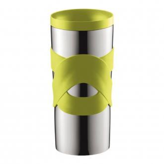 Кружка дорожная Bodum Travel, цвет: зеленый, 350 мл11043-Дорожная кружка Bodum Travel подходит как для холодных, так и для горячих напитков. Корпус кружки изготовлен из нержавеющей стали. Двойные стенки позволяют напитку дольше оставаться горячим. Изделие оснащено удобной пластиковой крышкой, которая плотно закручивается и не позволяет напитку пролиться. Силиконовый ободок на корпусе обеспечивает надежный хват и комфорт во время использования. Размер кружки подходит для большинства автомобильных подстаканников. Такая кружка прекрасно подойдет для использования на пикниках, в офисе, в автомобильной поездке. Также она послужит оригинальным и практичным подарком.