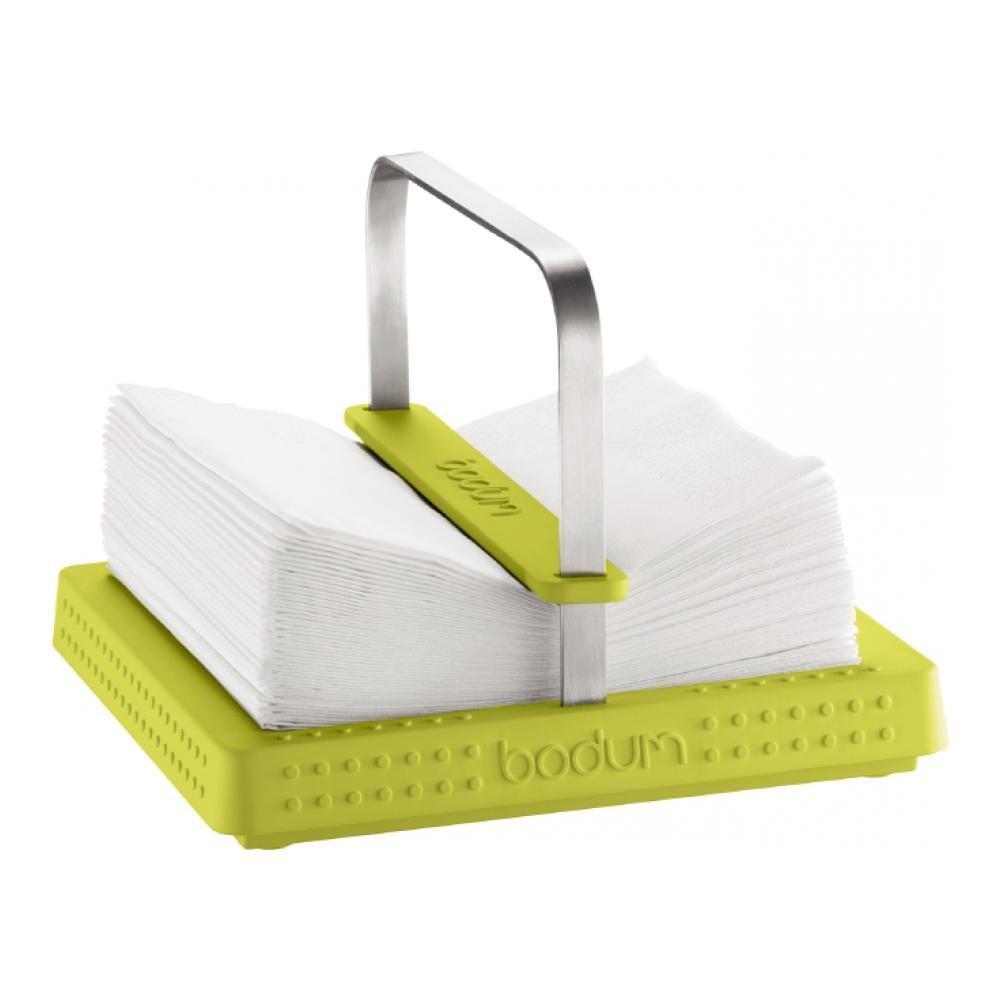 Подставка под салфетки Bodum Bistro, цвет: зеленый11231-Подставка под салфетки Bodum Bistro выполнена из высококачественного пластика и оснащена ручкой из нержавеющей стали. Квадратное основание с противоскользящими вставками обеспечивает устойчивость подставки. Легко переносить с места на место. Специальный зажим предназначен для фиксации салфеток на подставке. Такая подставка для салфеток станет полезным аксессуаром в домашнем быту и идеально впишется в интерьер современной кухни.