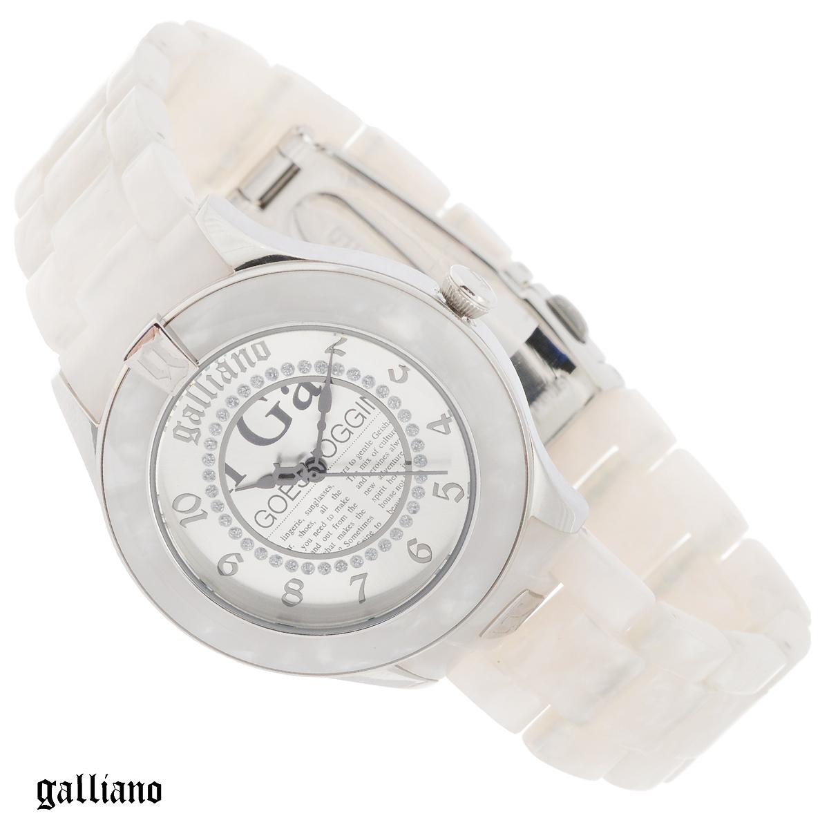 Часы женские наручные Galliano, цвет: белый, серебристый. R2553108502R2553108502Наручные женские часы Galliano оснащены кварцевым механизмом. Корпус выполнен из высококачественной нержавеющей стали, безель - из пластика. Циферблат с арабскими цифрами декорирован кристаллами и защищен минеральным стеклом. Часы имеют три стрелки - часовую, минутную и секундную. Браслет часов выполнен из пластика и оснащен раскладывающейся застежкой. Часы укомплектованы паспортом с подробной инструкцией. Часы Galliano благодаря своему великолепному дизайну и качеству исполнения станут главным акцентом вашего образа. Характеристики: Диаметр циферблата: 2,8 см. Размер корпуса: 3,7 см х 3,7 см х 0,8 см. Длина браслета (с корпусом): 27 см. Ширина браслета: 1,7 см.
