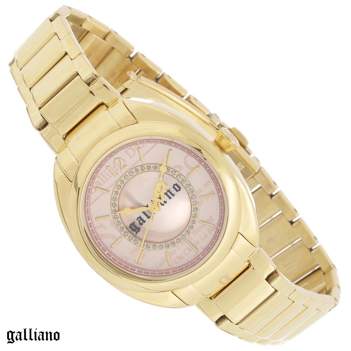 Часы женские наручные Galliano, цвет: золотой. R2553111501R2553111501Наручные женские часы Galliano оснащены кварцевым механизмом. Корпус выполнен из высококачественной нержавеющей стали с PVD-покрытием. Циферблат с отметками оформлен кристаллами и защищен сапфировым стеклом. Часы имеют три стрелки - часовую, минутную и секундную. Браслет часов выполнен из нержавеющей стали с PVD-покрытием и оснащен раскладывающейся застежкой. Часы укомплектованы паспортом с подробной инструкцией. Часы Galliano благодаря своему великолепному дизайну и качеству исполнения станут главным акцентом вашего образа. Характеристики: Диаметр циферблата: 2,8 см. Размер корпуса: 3,4 см х 3,4 см х 0,9 см. Длина браслета (с корпусом): 25,5 см. Ширина браслета: 1,6 см.