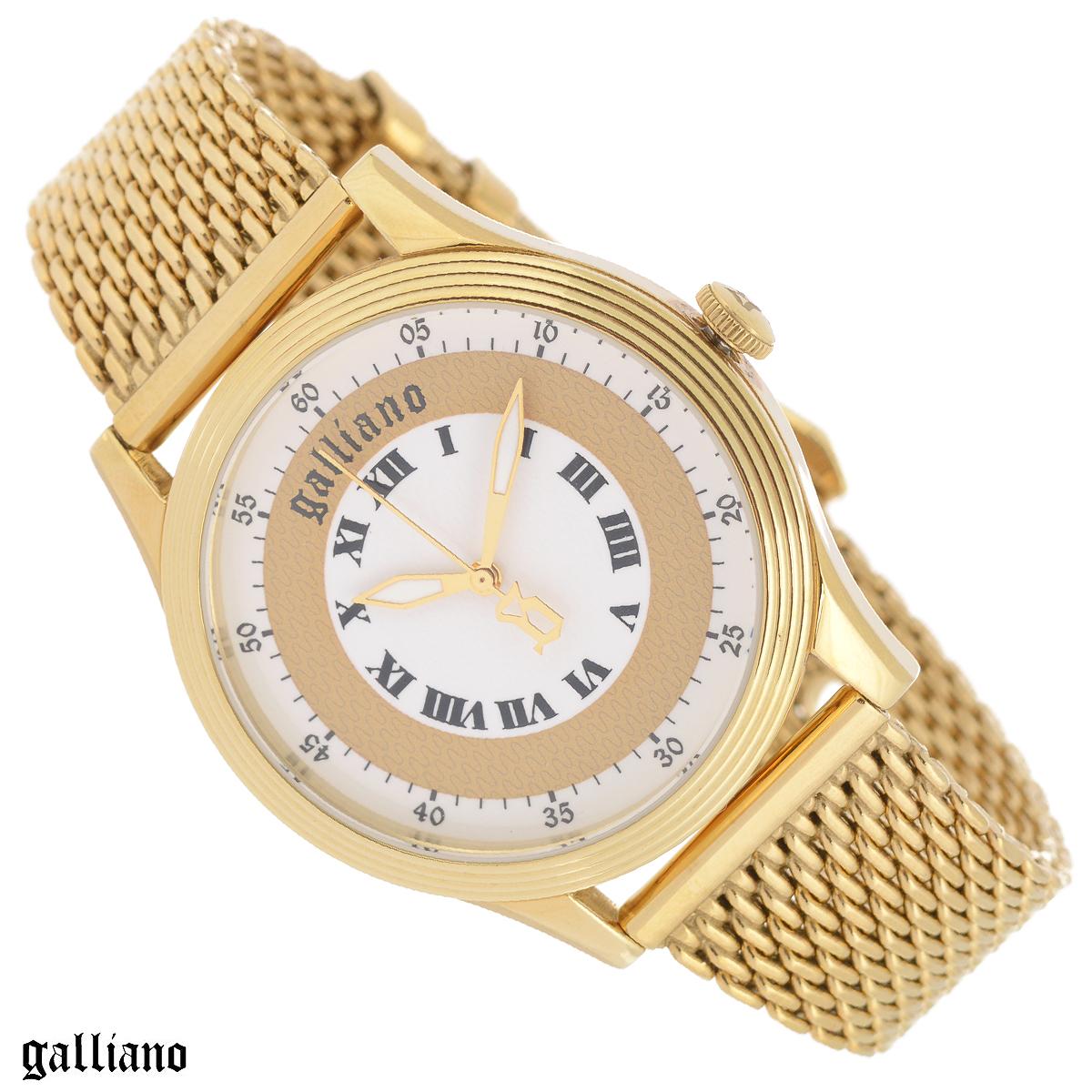 Часы женские наручные Galliano, цвет: золотой. R2553104501R2553104501Наручные женские часы Galliano оснащены кварцевым механизмом. Корпус выполнен из высококачественной нержавеющей стали с PVD-покрытием. Гильошированный циферблат с римскими цифрами защищен минеральным стеклом. Часы имеют три стрелки - часовую, минутную и секундную. Браслет часов миланского плетния выполнен из нержавеющей стали с PVD-покрытием оснащен классической застежкой. Часы укомплектованы паспортом с подробной инструкцией. Часы Galliano благодаря своему великолепному дизайну и качеству исполнения станут главным акцентом вашего образа. Характеристики: Диаметр циферблата: 3,3 см. Размер корпуса: 3,8 см х 4,4 см х 0,9 см. Длина браслета (с корпусом): 22,5 см. Ширина браслета: 1,5 см.