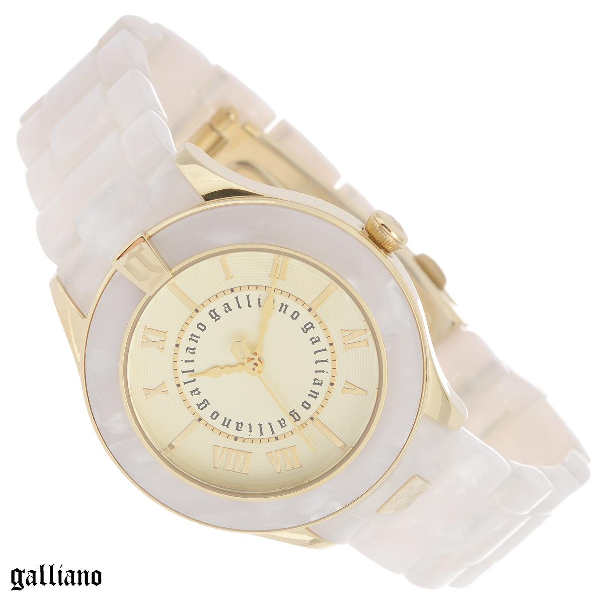 Часы женские наручные Galliano, цвет: белый, золотой. R2553108504R2553108504Наручные женские часы Galliano оснащены кварцевым механизмом. Корпус выполнен из высококачественной нержавеющей стали, безель - из пластика. Циферблат с римскими цифрами защищен минеральным стеклом. Часы имеют три стрелки - часовую, минутную и секундную. Браслет часов выполнен из пластика и оснащен раскладывающейся застежкой. Часы укомплектованы паспортом с подробной инструкцией. Часы Galliano благодаря своему великолепному дизайну и качеству исполнения станут главным акцентом вашего образа. Характеристики: Диаметр циферблата: 2,8 см. Размер корпуса: 3,7 см х 3,7 см х 0,8 см. Длина браслета (с корпусом): 27 см. Ширина браслета: 1,7 см.