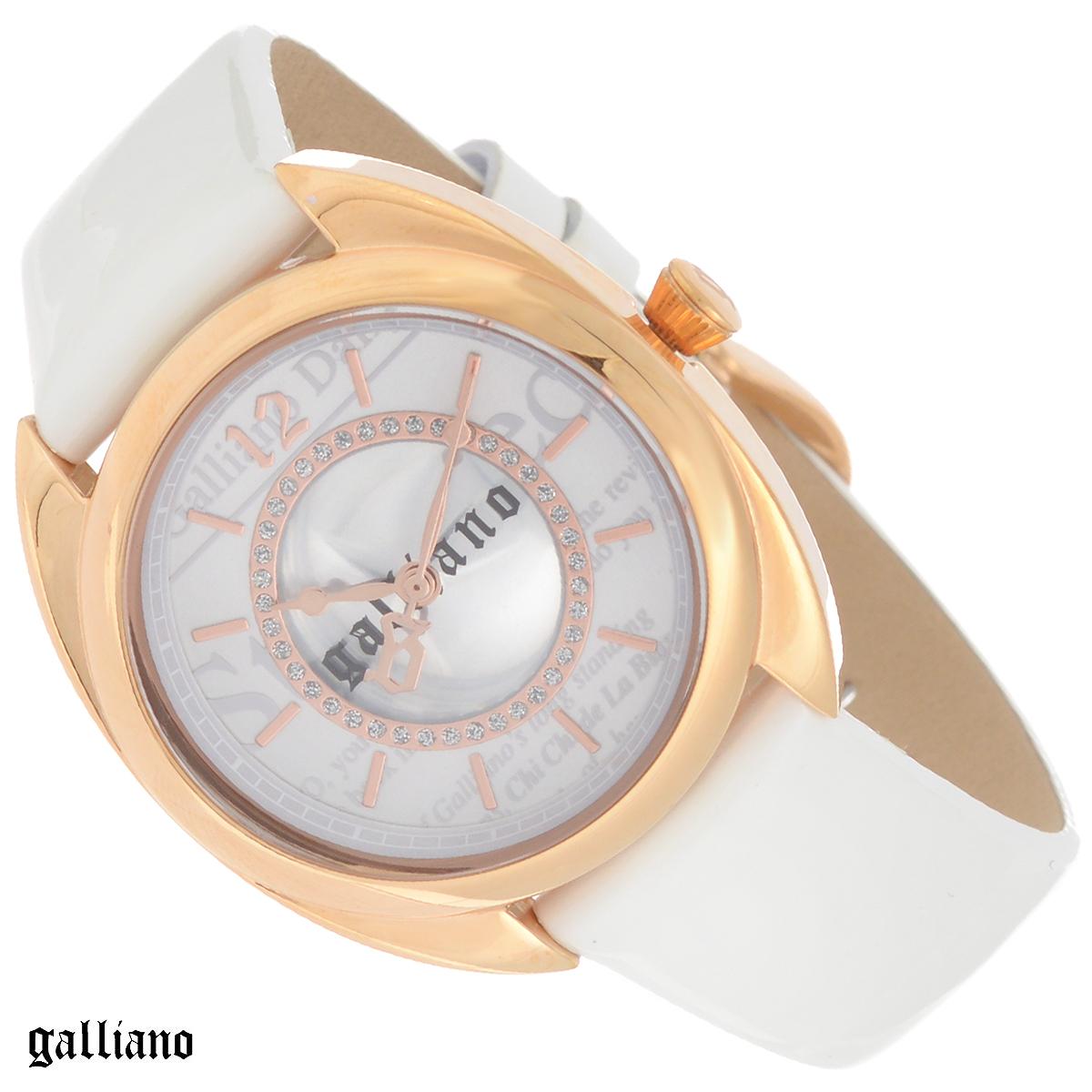 Часы женские наручные Galliano, цвет: белый, золотой. R2551111503R2551111503Наручные женские часы Galliano оснащены кварцевым механизмом. Корпус выполнен из высококачественной нержавеющей стали с PVD-покрытием. Циферблат с арабскими цифрами и отметками декорирован кристаллами и защищен сапфировым стеклом. Часы имеют три стрелки - часовую, минутную и секундную. Ремешок часов выполнен из натуральной кожи и оснащен классической застежкой. Часы укомплектованы паспортом с подробной инструкцией. Часы Galliano благодаря своему великолепному дизайну и качеству исполнения станут главным акцентом вашего образа. Характеристики: Диаметр циферблата: 2,8 см. Размер корпуса: 3,4 см х 3,4 см х 0,9 см. Длина ремешка (с корпусом): 20,5 см. Ширина ремешка: 1,7 см.