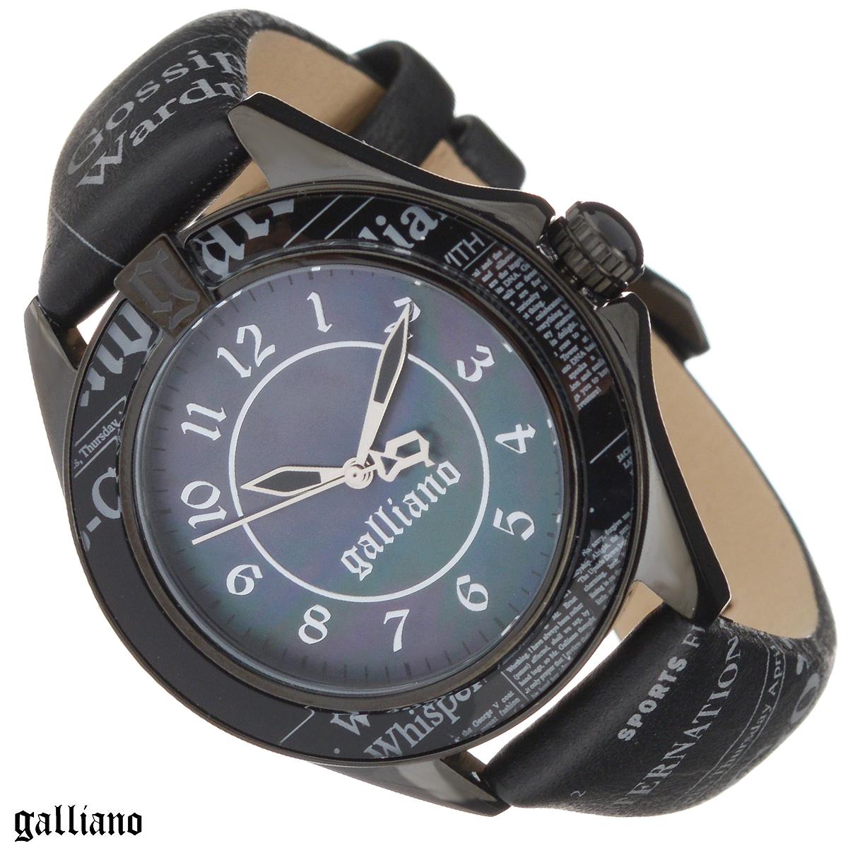 Часы женские наручные Galliano, цвет: черный. R2551105502R2551105502Наручные женские часы Galliano оснащены кварцевым механизмом. Корпус выполнен из высококачественной нержавеющей стали, безель из высокотехнологичной смолы. Циферблат из натурального перламутра с арабскими цифрами защищен минеральным стеклом. Часы имеют три стрелки - часовую, минутную и секундную. Ремешок часов выполнен из натуральной кожи и оснащен классической застежкой. Заводная головка с защитой украшена камнем в форме кабошона. Ремешок, циферблат и безель украшены фирменным принтом Galliano газета. Часы укомплектованы паспортом с подробной инструкцией. Часы Galliano благодаря своему великолепному дизайну и качеству исполнения станут главным акцентом вашего образа. Характеристики: Диаметр циферблата: 3 см. Размер корпуса: 3,8 см х 4,5 см х 0,9 см. Длина ремешка (с корпусом): 21,5 см. Ширина ремешка: 1,7 см.