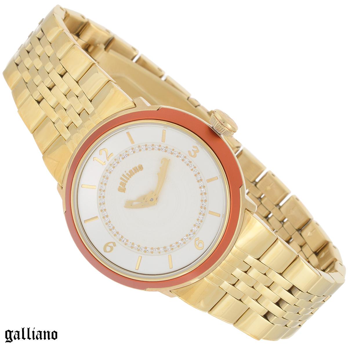 Часы женские наручные Galliano, цвет: золотой. R2553100501R2553100501Наручные женские часы Galliano оснащены кварцевым механизмом. Корпус выполнен из высококачественной нержавеющей стали с PVD-покрытием, безель - из алюминия. Циферблат с цифрами и отметками оформлен кристаллами и защищен минеральным стеклом. Часы имеют три стрелки - часовую, минутную и секундную. Браслет часов выполнен из нержавеющей стали с PVD-покрытием и оснащен раскладывающейся застежкой. Часы укомплектованы паспортом с подробной инструкцией. Часы Galliano благодаря своему великолепному дизайну и качеству исполнения станут главным акцентом вашего образа. Характеристики: Диаметр циферблата: 3,2 см. Размер корпуса: 3,8 см х 3,8 см х 1 см. Длина браслета (с корпусом): 25,5 см. Ширина браслета: 1,8 см.