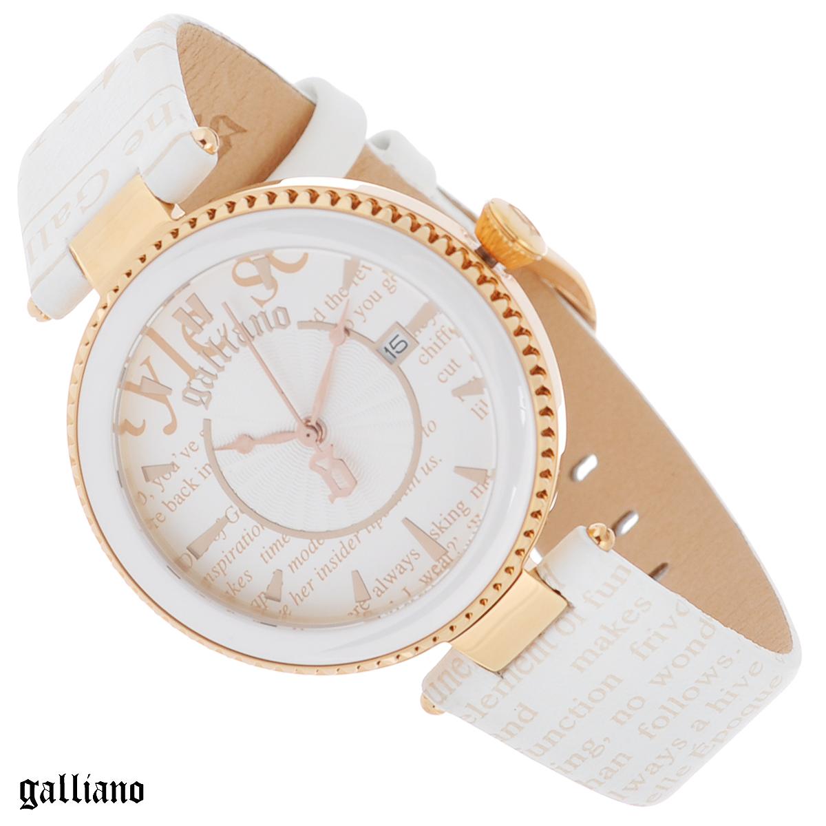 """Часы женские наручные Galliano, цвет: белый, золотой. R2551112503R2551112503Наручные женские часы Galliano оснащены кварцевым механизмом. Корпус выполнен из высококачественной нержавеющей стали с PVD-покрытием и керамическим безелем. Циферблат с отметками декорирован """"газетным"""" принтом и защищен минеральным стеклом. Дополнительно циферблат оснащен индикатором даты. Часы имеют три стрелки - часовую, минутную и секундную. Ремешок часов выполнен из натуральной кожи с """"газетным"""" принтом и оснащен классической застежкой. Часы укомплектованы паспортом с подробной инструкцией. Часы Galliano благодаря своему великолепному дизайну и качеству исполнения станут главным акцентом вашего образа. Характеристики: Диаметр циферблата: 3 см. Размер корпуса: 3,8 см х 3,8 см х 0,8 см. Длина ремешка (с корпусом): 21,5 см. Ширина ремешка: 1,7 см."""