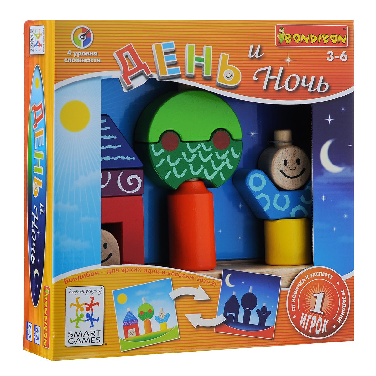 Логическая игра Bondibon SmartGames День и НочьВВ1058Логическая игра Bondibon SmartGames День и Ночь - занимательная игра для малыша от 3 до 6 лет. Она представляет собой яркий и необычный пейзаж из домика, дерева и человечка, состоящий из различных красочных деревянных элементов. Игра имеет множество вариантов с заданиями на вырост и огромный простор для детской фантазии. Все объекты игры будут двигаться, помогая малышу развить мелкую моторику и пространственное мышление. Игра предусматривает 48 заданий четырех уровней сложности, в ходе которых ребенку необходимо нанизывать в определенном порядке элементы пазла на штырьки основы, в точности воспроизводя картинку из задания. Легкая и компактная, игра День и Ночь позволит скоротать время во время вынужденного ожидания в пробках и очередях. В набор входят: основа с тремя штырьками, 10 элементов пазла и буклет с правилами игры на русском языке и заданиями для сборки.