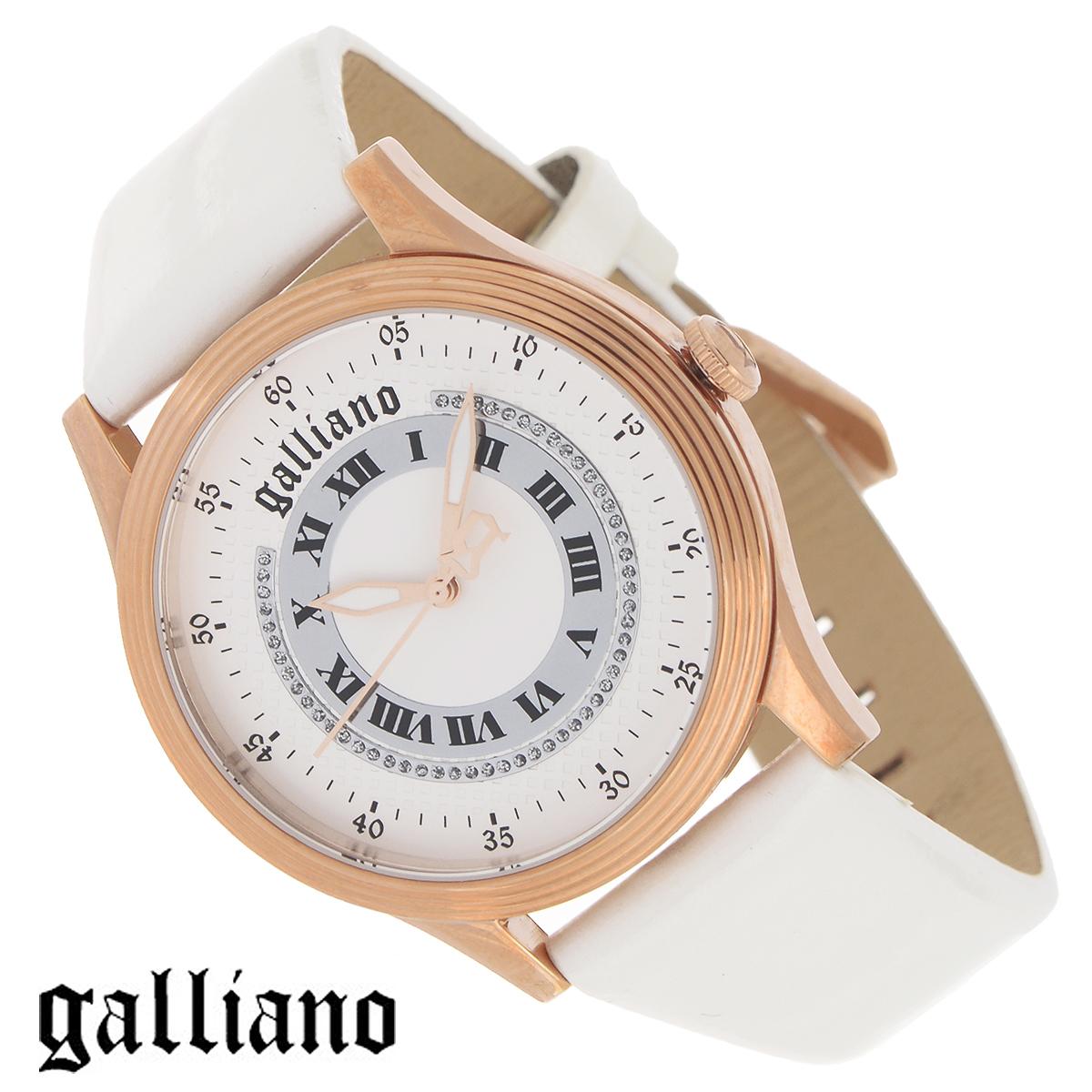 Часы женские наручные Galliano, цвет: белый, золотой. R2551104501R2551104501Наручные женские часы Galliano оснащены кварцевым механизмом. Корпус выполнен из высококачественной нержавеющей стали с PVD-покрытием. Гильошированный циферблат с римскими цифрами декорирован кристаллами и защищен минеральным стеклом. Часы имеют три стрелки - часовую, минутную и секундную. Ремешок часов выполнен из натуральной кожи и оснащен классической застежкой. Часы укомплектованы паспортом с подробной инструкцией. Часы Galliano благодаря своему великолепному дизайну и качеству исполнения станут главным акцентом вашего образа. Характеристики: Диаметр циферблата: 3,3 см. Размер корпуса: 3,8 см х 3,8 см х 0,8 см. Длина ремешка (с корпусом): 21,5 см. Ширина ремешка: 1,6 см.