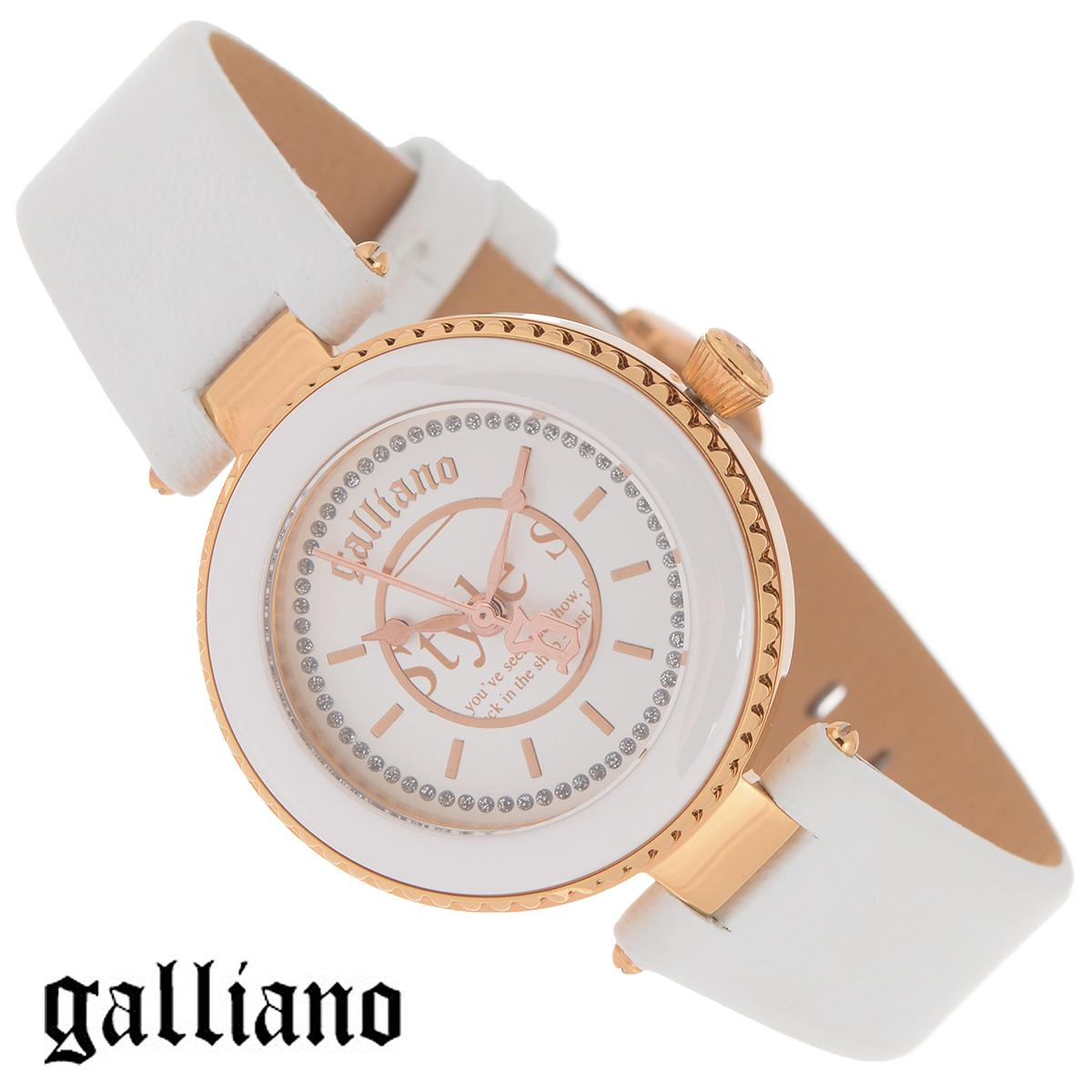 Часы женские наручные Galliano, цвет: белый, золотой. R2551112502R2551112502Наручные женские часы Galliano оснащены кварцевым механизмом. Корпус выполнен из высококачественной нержавеющей стали с PVD-покрытием и керамической вставкой. Циферблат с отметками декорирован кристаллами и защищен минеральным стеклом. Часы имеют три стрелки - часовую, минутную и секундную. Ремешок часов выполнен из натуральной кожи и оснащен классической застежкой. Часы укомплектованы паспортом с подробной инструкцией. Часы Galliano благодаря своему великолепному дизайну и качеству исполнения станут главным акцентом вашего образа. Характеристики: Диаметр циферблата: 2,3 см. Размер корпуса: 3,2 см х 3,2 см х 0,7 см. Длина ремешка (с корпусом): 21 см. Ширина ремешка: 1,6 см.