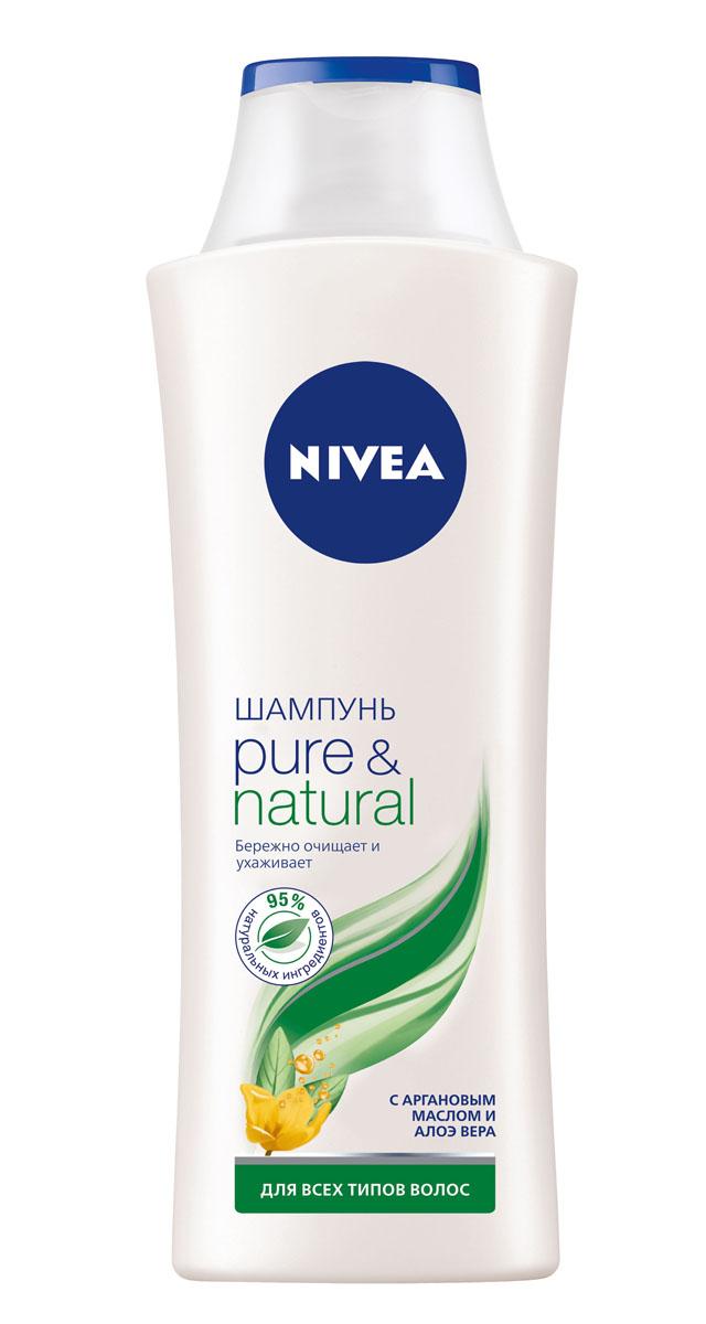 NIVEA Шампунь Pure & Natural 400 мл10038517ПОЧУВСТВУЙТЕ ЗАБОТУ О ВАШИХ ВОЛОСАХ! С обновленной линейкой средств по уходу за волосами от NIVEA Ваши волосы выглядят красивыми и здоровыми, и к ним приятно прикасаться. Для всех типов волос. Как это работает Вы хотите, чтобы сама природа позаботилась о Ваших волосах? Шампунь PURE&NATURAL с Аргановым маслом и Алоэ Вера: •содержит 95% натуральных ингредиентов •не содержит силиконов, парабенов и красителей •бережно очищает волосы, не утяжеляя их •подходит для всех типов волос Аргановое масло является богатым источником полиненасыщенных жирных кислот и витамина Е, концентрация которого в нем выше, чем в оливковом, в 3 раза. Аргановое масло укрепляет и питает волосы, восстанавливая структуру и предотвращая сечение кончиков. Алоэ Вера обладает уникальной способностью впитывать и удерживать влагу. Экстракт Алоэ Вера глубоко увлажняет и как бы запечатывает влагу в структуре волоса, делая его плотнее, не утяжеляя при этом волосы. НАТУРАЛЬНАЯ ЗАБОТА О ВОЛОСАХ.