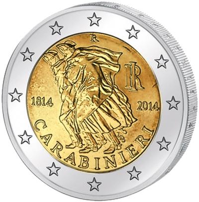 Монета номиналом 2 евро 200 лет итальянским карабинерам. Италия, 2014 год656Монета номиналом 2 евро 200 лет итальянским карабинерам. Италия, 2014 год Диаметр 2,5 см. Сохранность UNC (без обращения).
