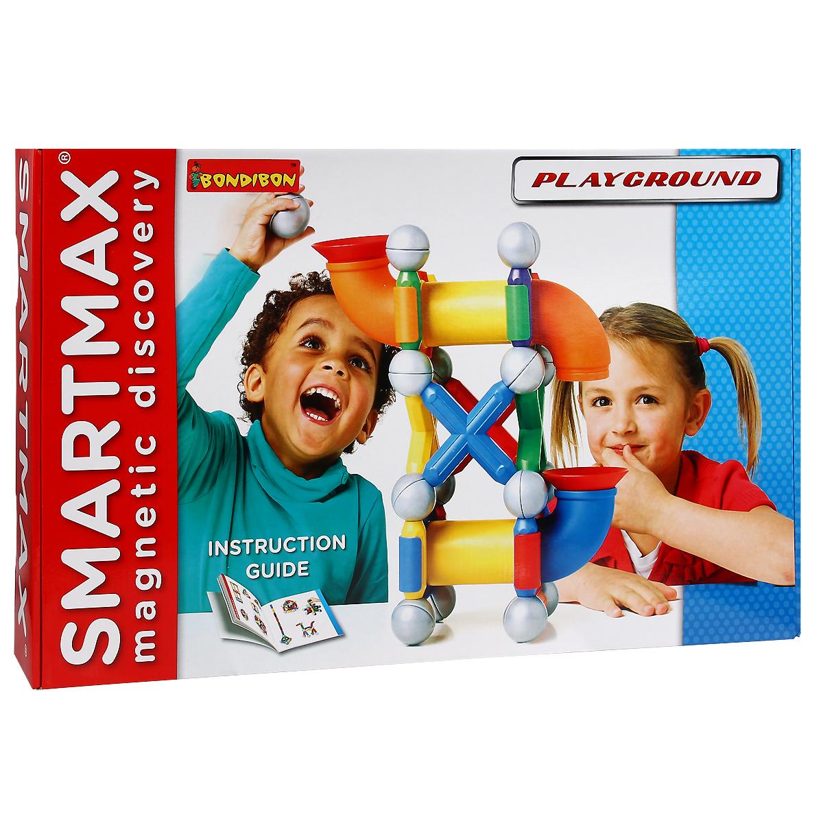 Bondibon Конструктор магнитный Smartmax Детская площадкаВВ1068/SMX 509Магнитный конструктор Bondibon Smartmax Детская площадка не только будет развлекать вашего малыша игрой, освобождая вас на некоторое время от его требовательного внимания, но и познакомит вашего почемучку с принципом действия магнитов! В комплект входят 37 элементов магнитного конструктора, в том числе 13 металлических шаров, из которых ребенок без труда сможет собрать детскую площадку, а еще множество других интересных сооружений. Ребенок будет запускать шары по верхней трубе и наблюдать, как они скатываются вниз. В красочном буклете малыш найдет примеры сборки конструкций. Благодаря крупным размерам элементов конструктора малышу будет удобно их держать. Магниты держатся внутри элементов очень прочно, и выпадение их во время игры исключено. Готовую модель можно сразу разобрать, чтобы создать нечто более новое и совершенное, а можно использовать ее в сюжетно-ролевой игре. Объединяйте разные наборы SmartMax и расширяйте творческие возможности своего маленького...