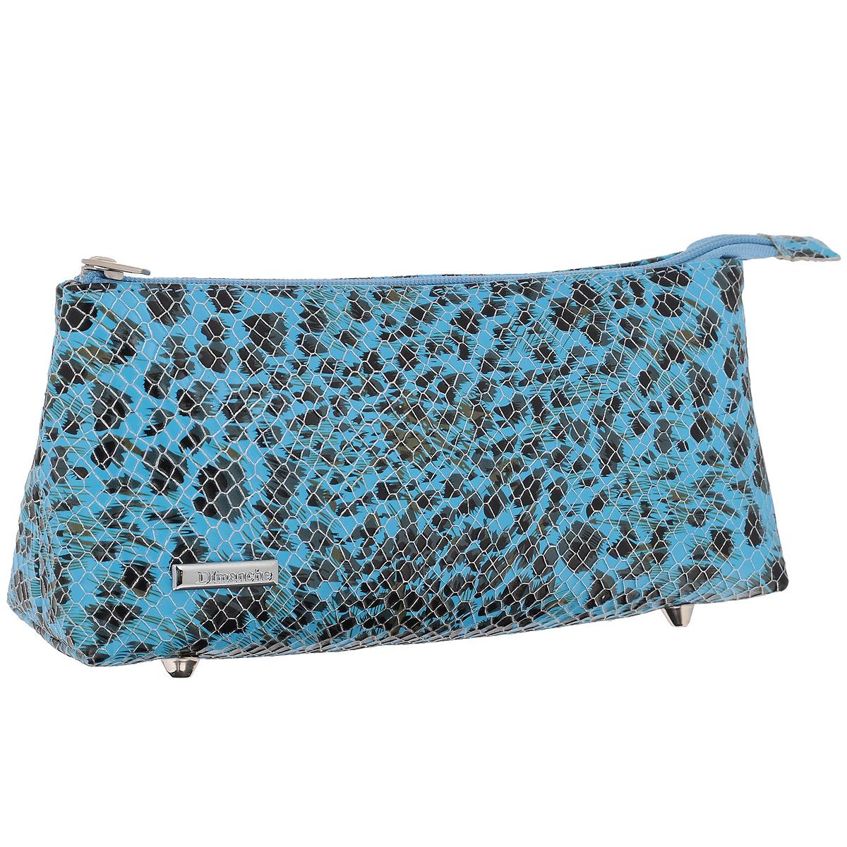 Косметичка Dimanche, цвет: голубой. 264264Косметичка Dimanche изготовлена из искусственной кожи голубого цвета с тиснением под рептилию. Внутри косметичка отделана атласным текстильным материалом. Изделие закрывается на застежку-молнию. Дно оснащено четырьмя металлическими ножками. Женская косметичка Dimanche - это стильный и полезный аксессуар для любой модницы. В косметичке поместится вся необходимая косметика, а благодаря компактным размерам ее всегда можно носить с собой в сумочке.