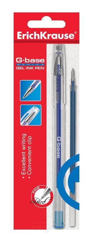 Ручка гелевая Erich Krause G-Base, со сменным стержнем, цвет: синийEK30938Характеристики: Материал корпуса: пластик. Длина ручки с колпачком: 14,5 см. Толщина линии: 0,5 мм. Цвет чернил: синий. Изготовитель: Китай.