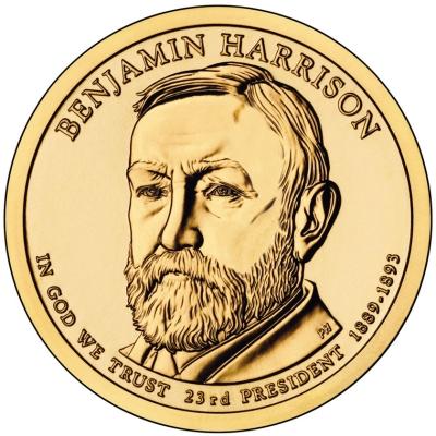 Монета номиналом 1 доллар Президенты. Бенджамин Гаррисон. США, 2012 год1806-1808**Диаметр 26,5 мм. Вес: 8,1 гр. Материал: Медь с марганцево-латунным покрытием.