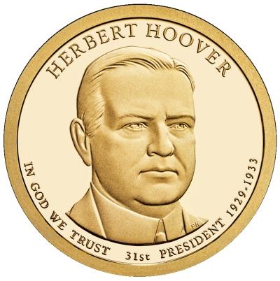 Монета номиналом 1 доллар Президенты. Герберт Гувер. США, 2014 год656Диаметр 26,5 мм. Вес: 8,1 гр. Материал: Медь с марганцево-латунным покрытием.