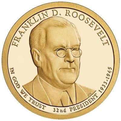 Монета номиналом 1 доллар Президенты. Франклин Д. Рузвельт. США, 2014 год1806-1808**Диаметр 26,5 мм. Вес: 8,1 гр. Материал: Медь с марганцево-латунным покрытием.