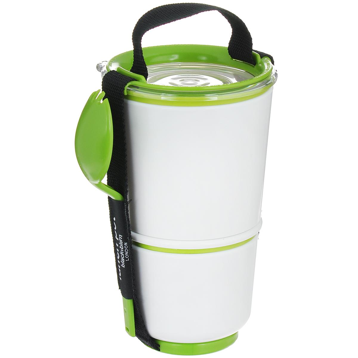 Ланч-бокс Black+Blum Lunch Pot, цвет: белый, зеленый, высота 19 смBP001Ланч-бокс Black+Blum Lunch Pot изготовлен из высококачественного пищевого пластика, устойчивого к нагреванию. Изделие представляет собой 2 круглых контейнера, предназначенных для хранения пищи и жидкости. Контейнеры оснащены герметичными крышками с надежной защитой от протечек, это позволяет взять с собой суп. В комплекте имеется текстильный ремешок с ручкой и пластиковая ложка-вилка. Благодаря компактным размерам, ланч-бокс поместится даже в дамскую сумочку, а также позволит взять с собой полноценный обед из первого и второго блюда. Можно использовать в микроволновой печи и мыть в посудомоечной машине.