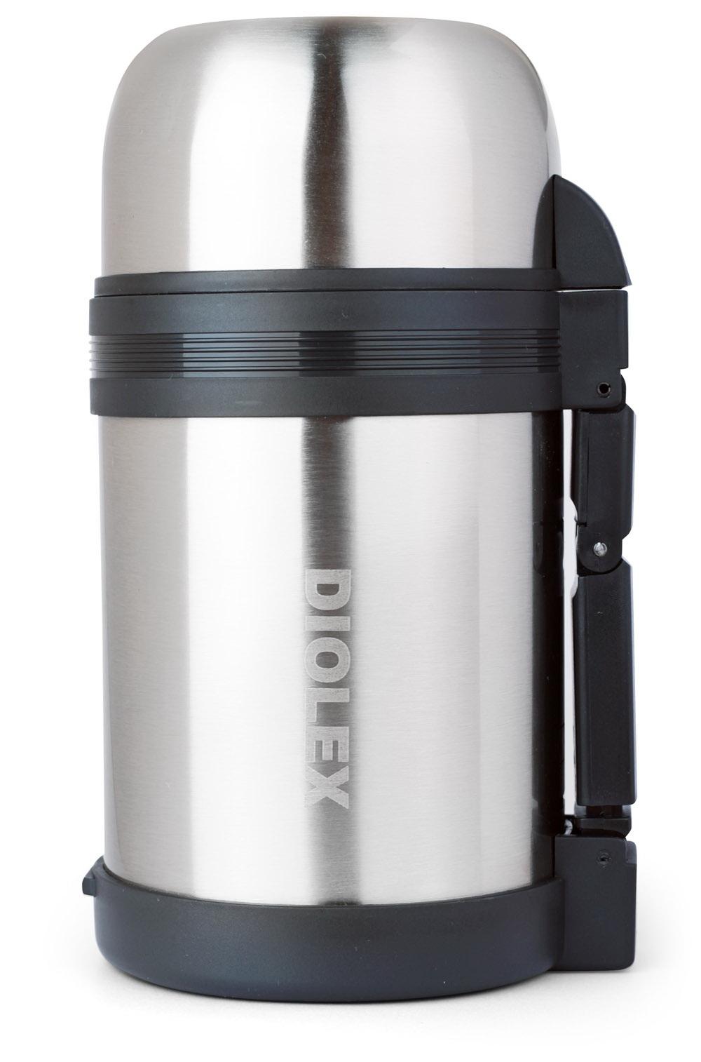 Термос универсальный Diolex, 0,6 лDXU-600-1Термос Diolex изготовлен из высококачественной нержавеющей стали и пластика. Двойная внутренняя колба обеспечивает долгое сохранение температуры содержимого. Термос вакуумный, он плотно закрывается специальным клапаном и дополнительно закручивается крышкой. Пластиковая подвижная ручка и ремешок для переноски делают использование термоса легким и удобным. Термос подходит как для хранения жидкостей, так и пищи. Для еды в комплекте предусмотрен специальный пластиковый контейнер белого цвета. Термос сохраняет напитки и продукты горячими или холодными долгое время. Легкий и прочный термос Diolex идеально подойдет для отдыха и путешествий.
