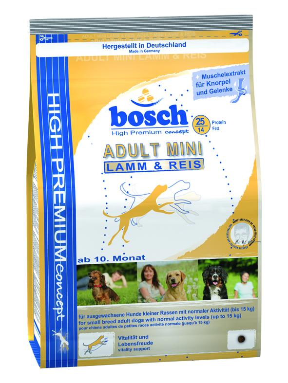 Корм сухой Bosch Mini Adult Lamb Rice для взрослых собак мелких пород, ягненок с рисом, 3 кг5338003Корм предназначен для полнорационного ежедневного питания для взрослых собак, но маленьких пород (вес взрослой собаки до 15 кг). Данный корм содержит только натуральные продукты из высококачественного мяса ягненка, рис, пшеницу, цельное яйцо. Пропорция жира и протеина рассчитана специально для собак мелких пород, так как они более активны и тратят больше энергии. Данный корм Bocsh Mini Lamb & Rice изготовлен из мяса ягненка, которое обладает очень низким аллергенным потенциалом, и поэтому подходит для собак склонных к аллергии, а также с чувствительной кожей и шестью. Корм имеет высокие вкусовые показатели, поэтому подойдет даже очень избирательным собакам Состав: свежее мясо домашней птицы 20%, рис 17%, кукуруза, мясо домашней птицы, мука из мяса ягненка 5%, клейковина кукурузы, просо, животный жир, свекольная пульпа (без сахара), яичный порошок, гидролизованное мясо, льняное семя, рыбная мука, мука из свежего мяса, рыбий жир, дрожжи (минимум 0,1% маннан-олигосахариды,...