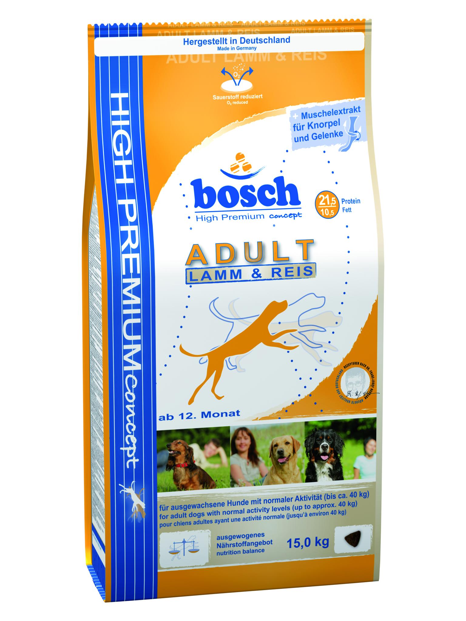 Корм сухой Bosch Adult Lamb & Rice, для взрослых собак, с ягненком и рисом, 15 кг55110015Корм сухой Bosch Adult Lamb & Rice - полноценный корм для взрослых собак средней активности. Оптимальное соотношение протеина и жира обеспечивает животное необходимой энергией на целый день. Bosch adult lamb & rice легко усвояем, что обеспечивает организму нормальное пищеварение, а благодаря высококачественному мясу ягненка, которое имеет очень низкий аллергенный потенциал, данный корм подходит для собак склонных к аллергии. Состав: мясо домашней птицы, ячмень, кукуруза, пшеничная мука, пшеница, мука из мяса ягнёнка, рис, просеянные пшеничные отруби, животный жир, гидролизованное мясо, рыбная мука, свекольная пульпа, рыбий жир, дрожжи, горох, поваренная соль, мука из мидий, хлорид калия, цикориевая пудра. Добавки (в 1 кг): Питательные добавки: Витамин А: 12,000 МЕ/кг, Витамин D3: 1,200 МЕ/кг, Витамин Е: 70 мг. Содержание питательных веществ: протеин 21,5%, содержание жира 10,5%, клетчатка 2,5%, минеральные вещества 6%, влажность...