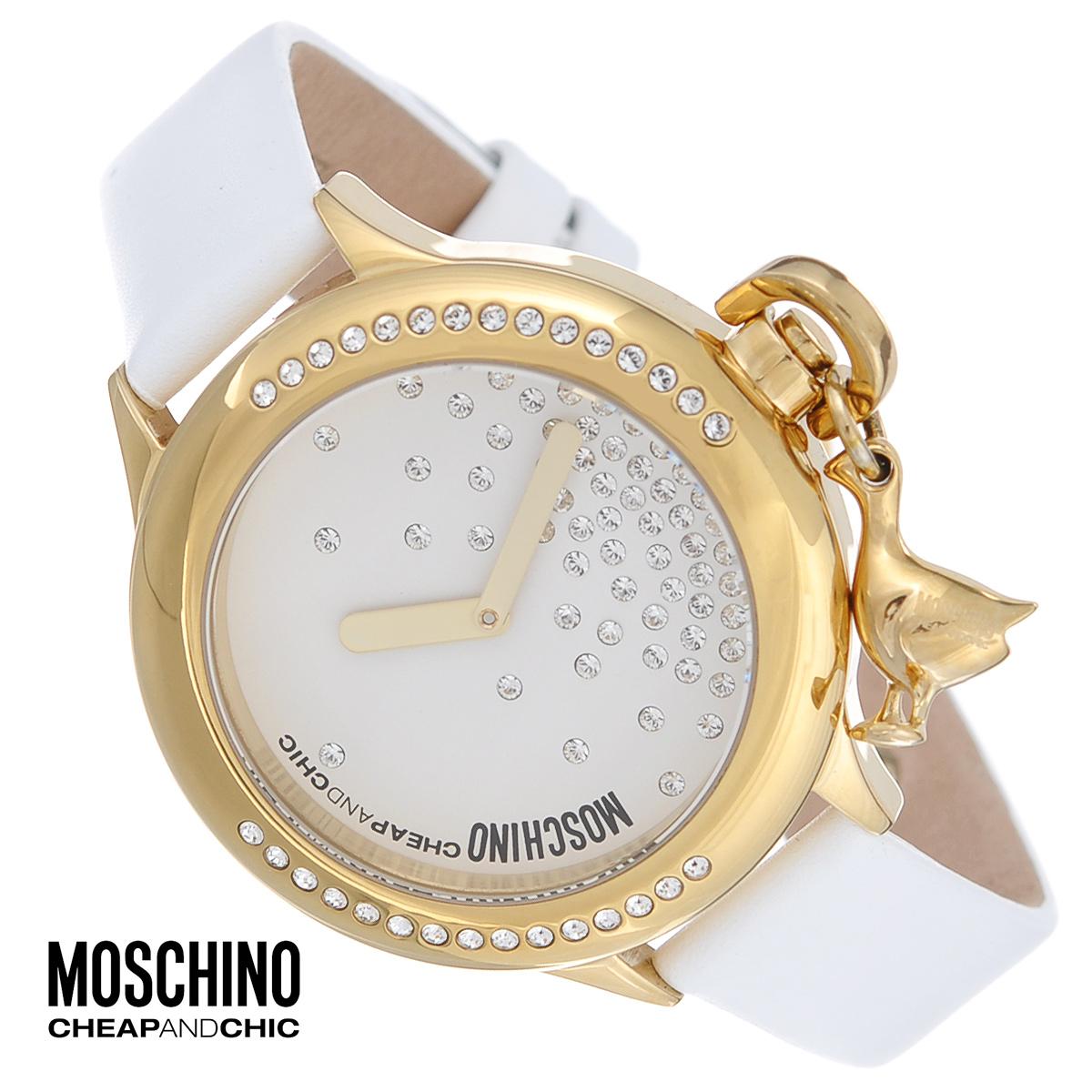 Часы женские наручные Moschino, цвет: белый, золотой. MW0044MW0044Наручные часы от известного итальянского бренда Moschino - это не только стильный и функциональный аксессуар, но и современные технологи, сочетающиеся с экстравагантным дизайном и индивидуальностью. Часы Moschino оснащены кварцевым механизмом. Корпус выполнен из высококачественной нержавеющей стали с PVD-покрытием. Циферблат декорирован россыпью кристаллов и защищен минеральным стеклом. Заводная головка оформлена подвеской в виде птицы. Часы имеют две стрелки - часовую и минутную. Ремешок часов выполнен из натуральной кожи и оснащен классической застежкой. Часы упакованы в фирменную металлическую коробку с логотипом бренда. Часы Moschino благодаря своему уникальному дизайну отличаются от часов других марок своеобразными циферблатами, функциональностью, а также набором уникальных технических свойств. Каждой модели присуща легкая экстравагантность, самобытность и, безусловно, великолепный вкус. Характеристики: Диаметр...