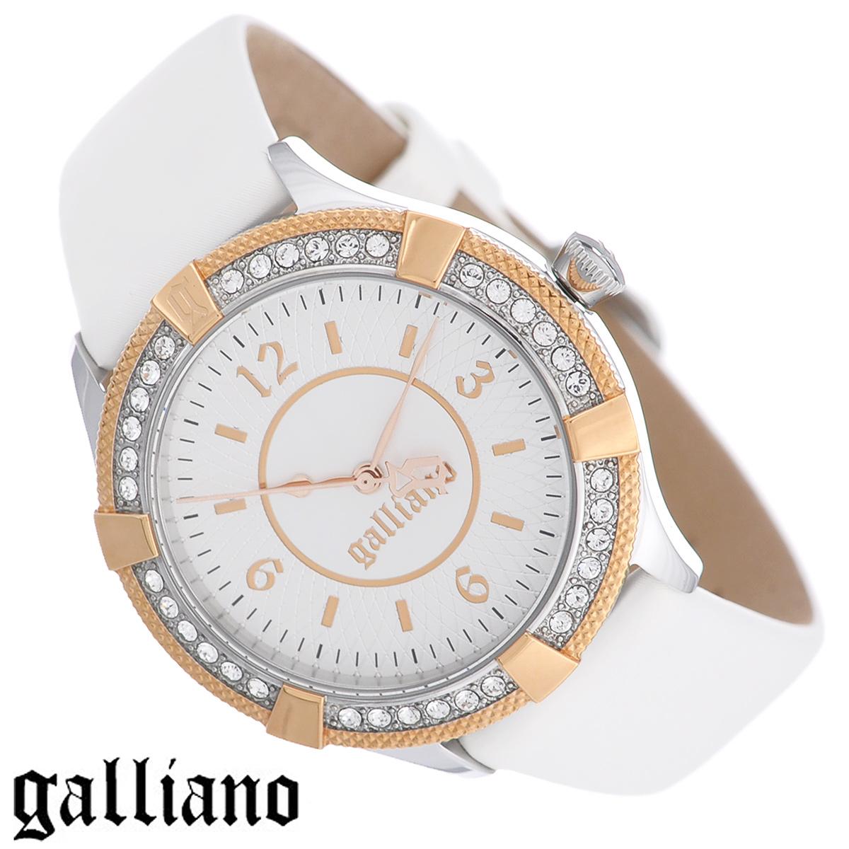 Часы женские наручные Galliano, цвет: белый, золотой. R2551113501R2551113501Наручные женские часы Galliano оснащены кварцевым механизмом. Корпус выполнен из высококачественной нержавеющей стали и инкрустирован кристаллами. Циферблат с арабскими цифрами и отметками защищен минеральным стеклом. Часы имеют три стрелки - часовую, минутную и секундную. Ремешок часов выполнен из натуральной кожи и оснащен классической застежкой. Часы укомплектованы паспортом с подробной инструкцией. Часы Galliano благодаря своему великолепному дизайну и качеству исполнения станут главным акцентом вашего образа. Характеристики: Диаметр циферблата: 2,8 см. Размер корпуса: 3,6 см х 3,6 см х 0,9 см. Длина ремешка (с корпусом): 21 см. Ширина ремешка: 1,7 см.