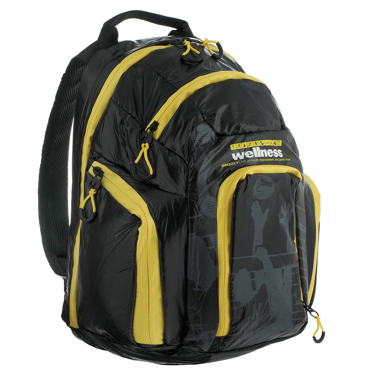 Рюкзак городской Grizzly, цвет: черный, желтый. RU-417-1RU-417-1 Рюкзак /4 черный - желтыйСтильный молодежный рюкзак Grizzly выполнен из нейлона черного цвета и оформлен оригинальным принтом. Рюкзак оснащен одним большим отделением, закрывающимся на застежку-молнию. На передней стенке расположено 2 кармана, закрывающихся на застежки-молнии. По бокам 2 объемных кармана с застежками-молниями. Внутри расположен карман. Рюкзак оснащен лямками, мягкой спинкой и текстильной ручкой для удобной переноски.