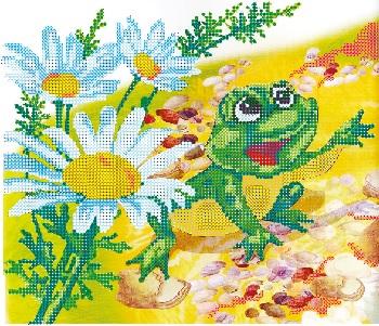 Канва с рисунком для вышивания бисером Alisena Лягушонок, 24 см х 21 см. В1120693978Ткань с рисунком для вышивания Alisena Лягушонок изготовлена из атласа. Рисунок-вышивка, выполненный на такой ткани, выглядит очень оригинально. Вышивка выполняется в технике монастырский шов бисером Preciosa №10 (Чехия). Вышивание отвлечет вас от повседневных забот и превратится в увлекательное занятие! Работа, сделанная своими руками, создаст особый уют и атмосферу в доме и долгие годы будет радовать вас и ваших близких, а подарок, выполненный собственноручно, станет самым ценным для друзей и знакомых. Рекомендуемое количество цветов: 12.