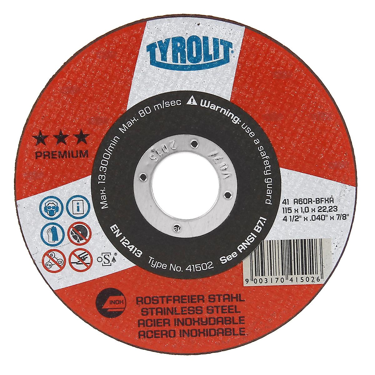 Диск абразивный прямой Tyrolit Premium, 115 мм x 1 мм x 22,23 мм. 41 A60R-BFXA41502