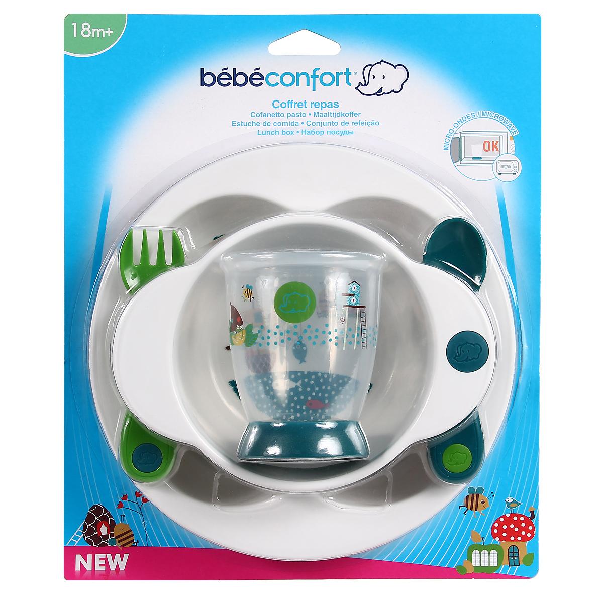 """Набор детской посуды """"Bebe Confort"""", от 18 месяцев, цвет: белый, сине-зеленый, 5 предметов"""