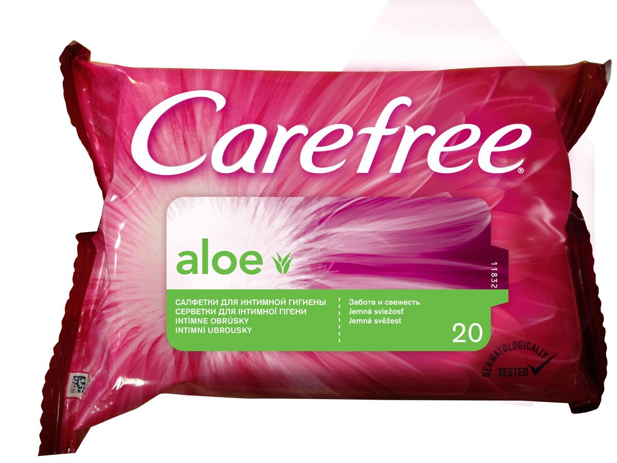 """Carefree Салфетки влажные """"Алоэ"""", для интимной гигиены, 20 шт 44585/80042"""