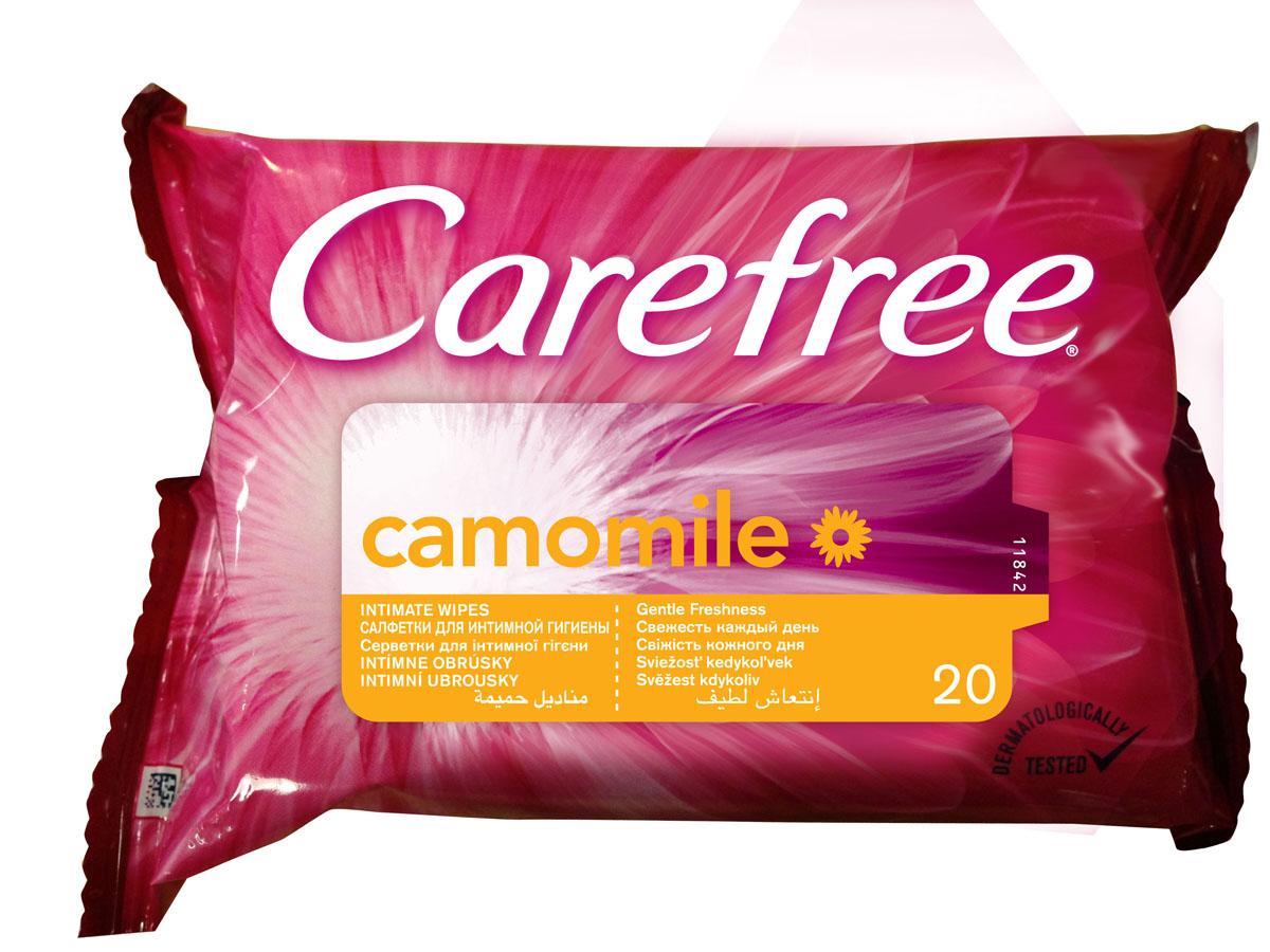 Carefree Салфетки влажные Camomile, для интимной гигиены, 20 шт44594/80047Откройте секреты ежедневной свежести с влажными салфетками для интимной гигиены CAREFREE®. Они нежно очищают кожу и позволяют чувствовать свежесть в любое время. Содержат экстракт Ромашки. Они поддерживают естественный уровень pH и подходят для ежедневного применения всегда и везде. Товар сертифицирован.