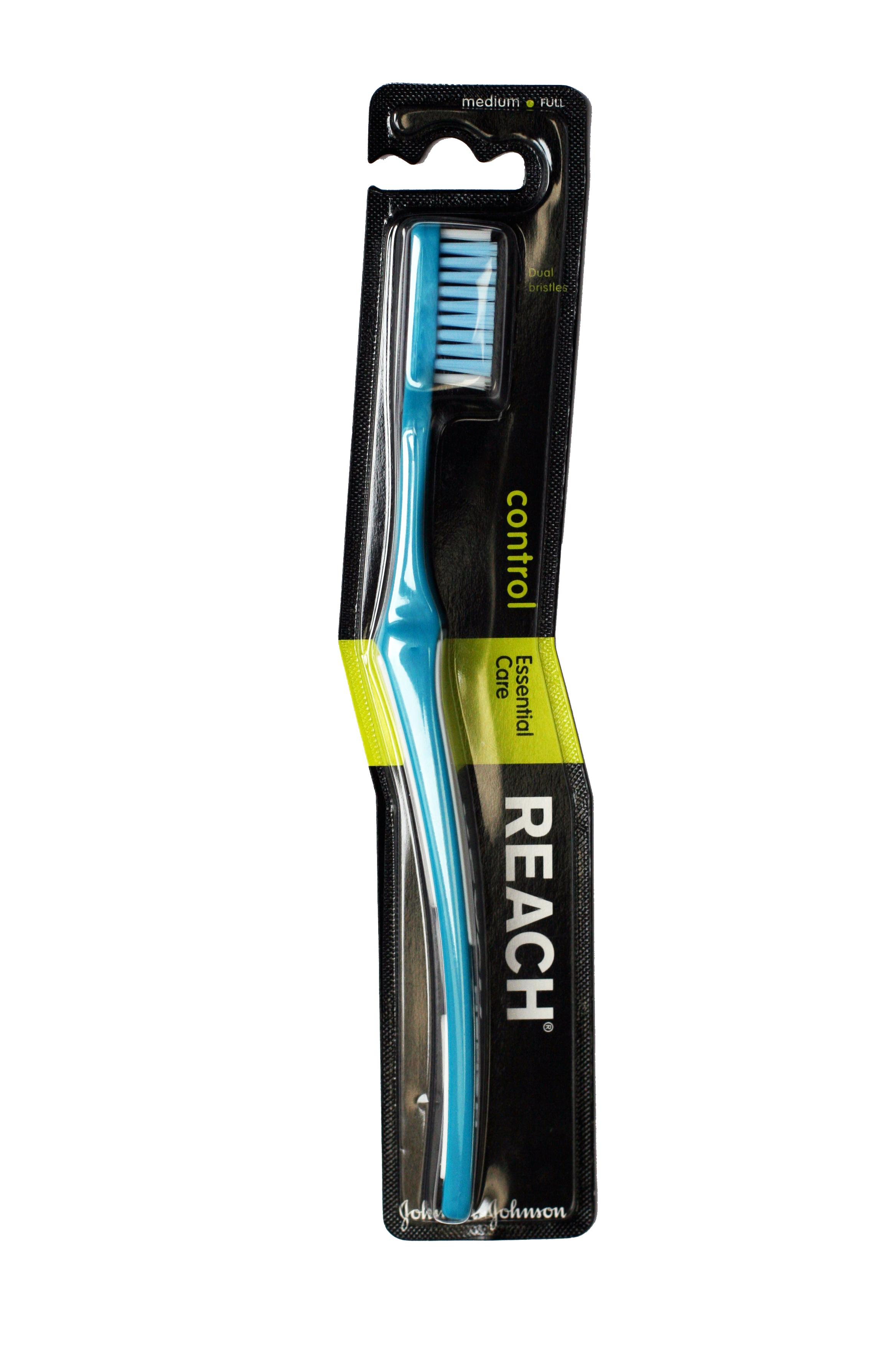 Reach Зубная щетка Control, средней жесткости62125Reach Зубная щетка - для большего контроля во время чистки: - длинные внешние щетинки бережно чистят вдоль линии десен. - шейка щетки расположена под углом для более легкой чистки труднодоступных мест. - мягкие резиновые накладки на ручке позволяют ей не скользить в руке во время чистки. - три уровня жесткости щетины: жесткая, средняя, мягкая. Товар сертифицирован.