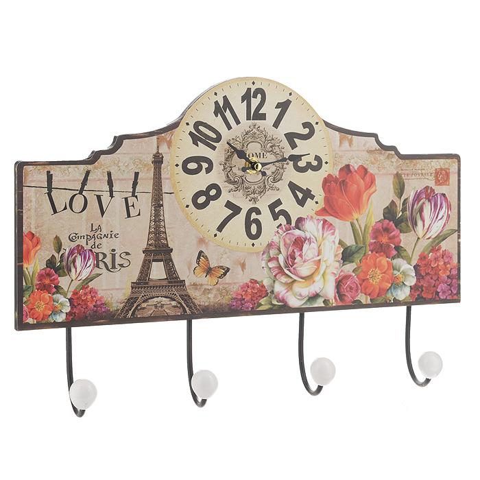 Часы настенные Весенний Париж, с крючками. 3582735827Настенные часы Весенний Париж станут ярким элементом декора в гостиной, прихожей или на кухне. Часы, выполненные из МДФ, оформлены изображением цветов и Эйфелевой башни. Часы имеют две фигурные стрелки - часовую и минутную. Круглый циферблат оформлен крупными арабскими цифрами. Часы оснащены четырьмя прочными металлическими крючками с пластиковыми насадками белого цвета. С задней стороны имеются петельки для подвешивания на стену. Настенные часы Весенний Париж станут не только оригинальным украшением интерьера комнаты, но и прекрасным подарком, который обязательно понравится получателю. Размер часов (с крючками) (ДхШ): 40 см х 27 см. Толщина корпуса: 0,9 см. Диаметр циферблата: 14,5 см. Часы работают от одной батарейки типа АА (в комплект не входит).