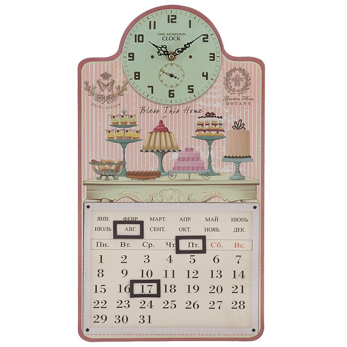 Часы настенные Тортики, с календарем. 3582835828Настенные часы Тортики станут оригинальным элементом декора в доме, офисе или на даче. Часы выполнены из МДФ и украшены ярким изображением пирожных и тортиков. Часы имеют две фигурные стрелки - часовую и минутную. Циферблат зеленого цвета оформлен крупными арабскими цифрами. Часы также оснащены календарем, для которого предусмотрено 3 окошка на магнитах. Сзади расположена петелька для подвешивания на стену и пластиковые защитные вставки. Настенные часы Тортики станут не только оригинальным украшением интерьера комнаты, но и прекрасным подарком, который обязательно понравится получателю. Диаметр циферблата: 13 см. Размер корпуса (ДхШ): 24,5 см х 46 см. Толщина корпуса: 0,9 см. Часы работают от одной батарейки типа АА (в комплект не входит).