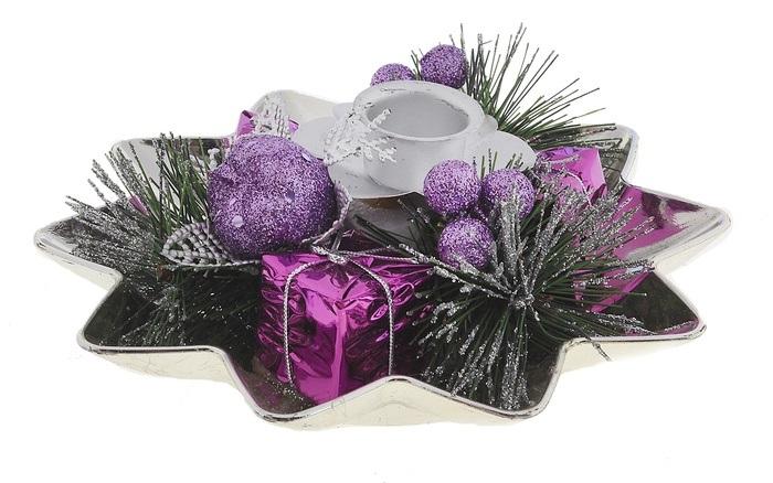 Подсвечник Sima-land Ягодки, цвет: фиолетовый, серебристый. 542640542640