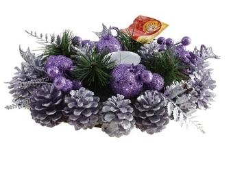 Подсвечник Sima-land Шишки, цвет: фиолетовый, серебристый, 29 см х 20 см. 542633542633