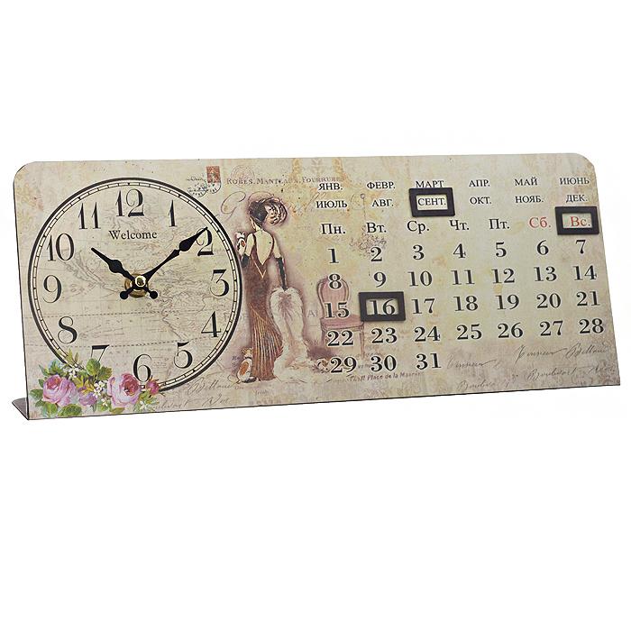 Часы настольные Леди, с календарем. 3583535835Настольные часы Леди станут оригинальным элементом декора в доме, офисе или на даче. Часы выполнены из металла в прямоугольном корпусе и украшены изображением цветов и девушки в длинном коричневом платье с манто в руках. Часы имеют две стрелки - часовую и минутную. Циферблат оформлен крупными арабскими цифрами и изображением карты. Часы также оснащены календарем, для которого предусмотрено 3 окошка на магнитах. Настольные часы Леди станут не только оригинальным украшением стола, но и прекрасным подарком, который обязательно понравится получателю. Диаметр циферблата: 12 см. Общий размер часов (ДхШхВ): 35 см х 6 см х 14 см. Часы работают от одной батарейки типа АА (в комплект не входит).