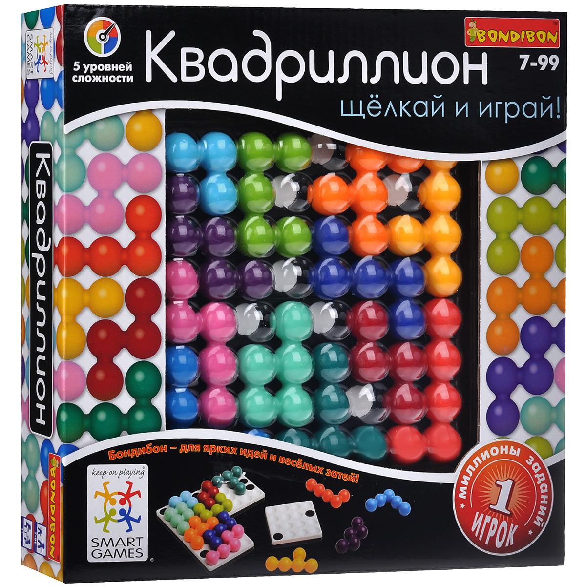 Логическая игра Bondibon Smartgames КвадриллионВВ1057Логическая игра Bondibon Smartgames Квадриллион направлена на активное развитие и тренировку важных функций у детей и взрослых, таких как: логическое мышление и познавательные способности, развитие фантазии, мелкая моторика, тренировка памяти, социальное развитие, концентрация внимания, креативность мышления, принятие верных и быстрых решений. Для того, чтобы начать игру, необходимо защелкнуть 4 магических решетки вместе и создать свое игровое поле. Игра предусматривает задания пяти уровней сложности, в ходе которых ребенку необходимо расположить на поле 12 цветных элементов головоломки в определенном порядке, в точности воспроизводя картинку из задания. Легкая и компактная, игра Квадриллион позволит скоротать время во время вынужденного ожидания в пробках и очередях. В набор входят: четыре части игрового поля, 12 элементов головоломки и буклет с правилами игры на русском языке и заданиями для сборки.