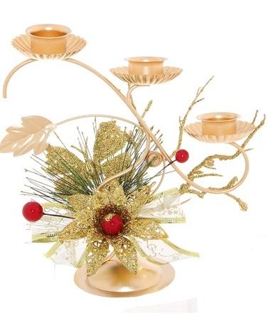 Подсвечник Sima-land Ягодки, на 3 свечи, цвет: золотистый. 706016706016