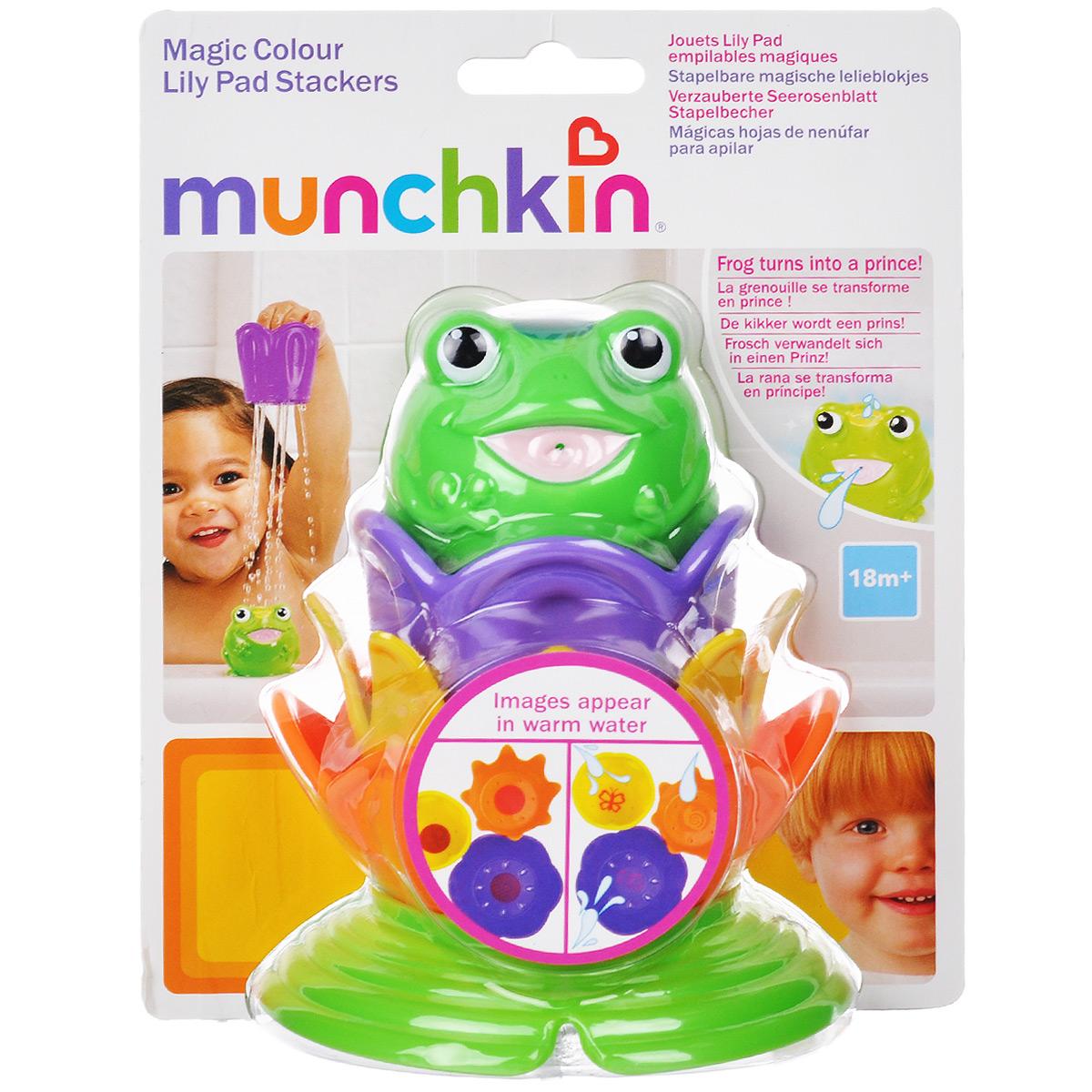 Игровой набор для ванны Munchkin Лягушка принцесса11686 NEWИгровой набор для ванны Munchkin Лягушка принцесса привлечет внимание вашего малыша и превратит купание в веселую игру. В набор входит лягушка-брызгалка и три лилии-ситечка. Малыши любят всевозможные интересные занятия в ванной и это хороший повод использовать время купания с пользой для его развития. Интересные занятия позволяют ребенку находиться в ванной с удовольствием столько времени, сколько нужно. На дне цветков имеются небольшие отверстия, через которые душиком выливается вода. Лилии складываются одна в другую. Располагая предметы в правильном порядке, ребенок получает представление о размере, форме и цвете. На лилиях-ситечках проявляются тайные изображения при погружении в теплую воду. А игрушка-брызгалка в виде лягушки превратится в принцессу, как только на ее голове появится корона. Рисунки снова пропадают, когда игрушки высыхают. Если в лягушку набрать воды, а потом нажать на нее, то из ее рта брызнет тонкая струйка воды, что несомненно позабавит кроху. ...