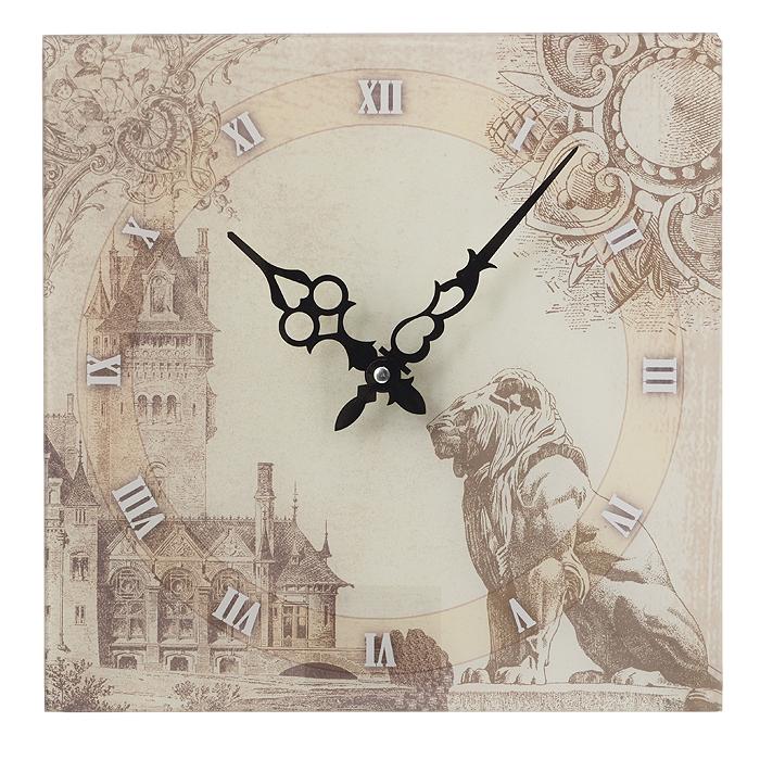 Часы настенные Лев. 2779527795Настенные часы Лев станут ярким элементом декора в гостиной или на кухне. Корпус часов квадратной формы выполнен из стекла и оформлен изображением статуи льва на фоне городского пейзажа. Часы имеют две фигурные стрелки - часовую и минутную. Циферблат оформлен крупными римскими цифрами. С задней стороны имеется отверстие для подвешивания на стену. Настенные часы Лев станут не только оригинальным украшением интерьера комнаты, но и прекрасным подарком, который обязательно понравится получателю. Размер корпуса (ДхШ): 30 см х 30 см. Толщина корпуса: 0,3 см. Диаметр циферблата: 26,5 см. Часы работают от одной батарейки типа АА (в комплект не входит).