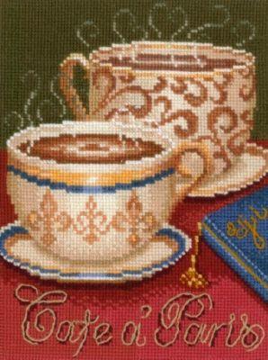 Набор для вышивания крестом Кофе в Париже, 15 х 21 см К-21693904