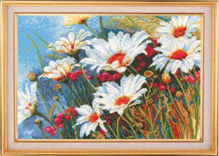 Набор для вышивания крестом Ромашковое поле, 34 х 22 см Р-10693925