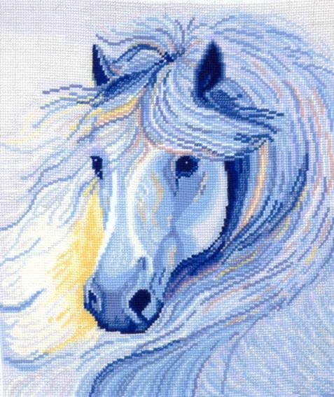 Набор для вышивания крестом Белогривая лошадь, 26 х 28 см Б-14697292